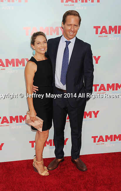 HOLLYWOOD, CA- JUNE 30: Actor Nat Faxon (R) and wife Meaghan Gadd arrive at the 'Tammy' - Los Angeles Premiere at TCL Chinese Theatre on June 30, 2014 in Hollywood, California.