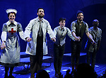 Grace McLean, Andrew Kober, Noah Gavin, Heath Saunders, Zachary Downer with cast during the opening night performance curtain call bows for the MCC Theater's 'Alice By Heart' at The Robert W. Wilson Theater Space on February 26, 2019 in New York City.