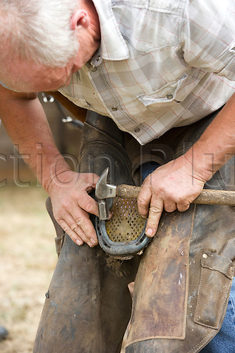 31st July 2010: Longines, Royal International, Horse Show, Show Jumping, Hickstead, England, Farrier shoeing a horse