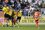 28 September 2013: A free kick by Carolina's Kenney Walker (34) bounce off a wall of (from left) Fort Lauderdale's Stefan Antonijevic (SRB), Toni Stahl (FIN), Bradlee Baladez, and Darnell King. The Carolina RailHawks played the Fort Lauderdale Strikers at WakeMed Stadium in Cary, North Carolina in a North American Soccer League Fall 2013 Season regular season game. Carolina won the game 2-0.