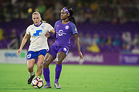 Orlando, FL - Saturday June 03, 2017: Adriana Leon, Chioma Ubogagu during a regular season National Women's Soccer League (NWSL) match between the Orlando Pride and the Boston Breakers at Orlando City Stadium.