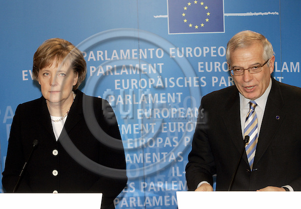 BRUSSELS - BELGIUM - 23 NOVEMBER 2005 -- Angela MERKEL (L) the German Chancellor visiting for the first time the EU-Parliament and its President Josep BORELL.  Here during their press conference. -- PHOTO: JUHA ROININEN / EUP-IMAGES