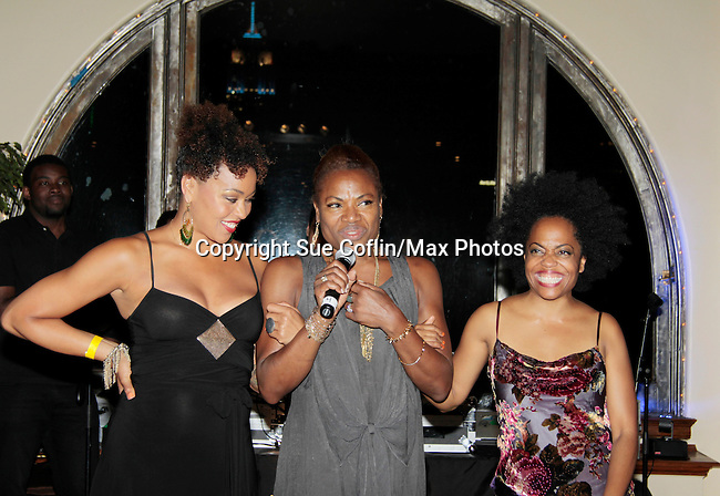 Founder Deborah Koenigsberger thanks Maya Azucena and Another World's Rhonda Ross as both sang at Hearts of Gold - 45 A Different Kind of Fund Raiser on July 10, 2014 at Manhattan Penthouse, New York City, New Yor (Photo by Sue Coflin/Max Photos)