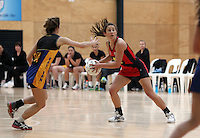 05.10.2012 Tasman's Portia Barcello in action during the netball match between Tasman and Eastern at the Lion Foundation Netball Champs in Tauranga. Mandatory Photo Credit ©Michael Bradley.
