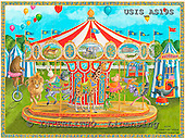 Ingrid, CHILDREN, KINDER, NIÑOS, paintings+++++,USISAS19S,#K#,carousel,lion,bear,giraffe ,vintage