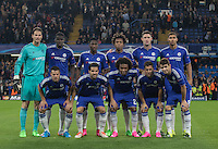 The Chelsea team line up for a photo during the UEFA Champions League match between Chelsea and Maccabi Tel Aviv at Stamford Bridge, London, England on 16 September 2015. Photo by Andy Rowland.
