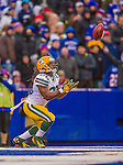14 December 2014: Green Bay Packers running back DuJuan Harris pulls in a 65-yard kickoff within the end zone for a touchback in the third quarter against the Buffalo Bills at Ralph Wilson Stadium in Orchard Park, NY. The Bills defeated the Packers 21-13, snapping the Packers' 5-game winning streak and keeping the Bills' 2014 playoff hopes alive. Mandatory Credit: Ed Wolfstein Photo *** RAW (NEF) Image File Available ***