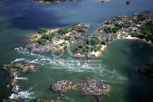 Xingu River, Brazil. Aerial view of the rapids.