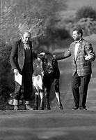 Jerome O'leary, owner and Joe Duffy of RTE with Big Bertha the world's oldest cow (44 years) during a RTE Radio 1 Gay Bryne Live radio show in honour of the cow in 1992.<br /> Picture by Don MacMonagle