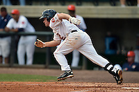 Greenville Astros left fielder Sean McMullen #16 swings at a pitch during a game against the Pulaski Mariners at Pioneer Park July 12, 2014 in Greenville, Tennessee. The Mariners defeated the Astros 11-10. (Tony Farlow/Four Seam Images)