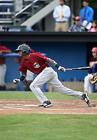 Mahoning Valley Scrappers second baseman Willi Castro (2) at bat during a game against the Batavia Muckdogs on June 22, 2015 at Dwyer Stadium in Batavia, New York.  Mahoning Valley defeated Batavia 15-11.  (Mike Janes/Four Seam Images)