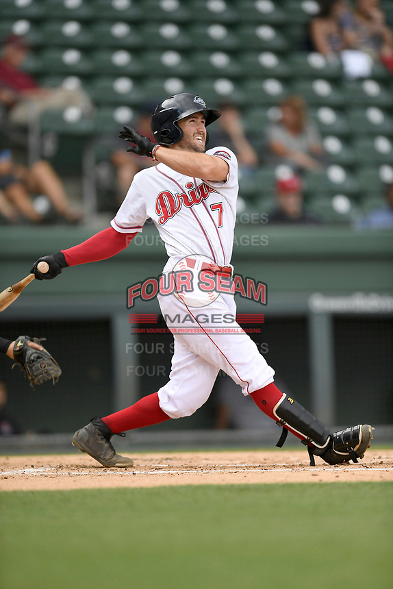 Left fielder Jagger Rusconi (7) of the Greenville Drive bats in a game against the Augusta GreenJackets on Thursday, May 17, 2018, at Fluor Field at the West End in Greenville, South Carolina. Augusta won, 2-1. (Tom Priddy/Four Seam Images)