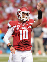 NWA Democrat-Gazette/ANDY SHUPE<br /> Arkansas' Brandon Allen reacts to a missed touchdown pass against University of Texas at El Paso Saturday, Sept. 5, 2015, during the first quarter of play in Razorback Stadium in Fayetteville. Visit nwadg.com/photos to see more from the game.