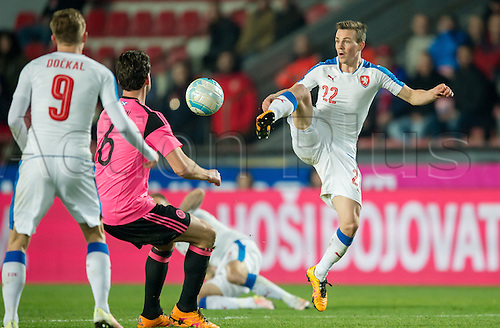 24.03.2016. Prague, Czech Republic.  Vladimir Darida (Czech Republic) and Scotland's Charlie Mulgrew vie for the ball during the international friendly match between the Czech Republic and Scotland at Letna Stadium in Prague, Czech Republic, 24 March 2016.