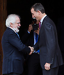 "Antonio Fraguas de Pablo ""Forjes"" and the Spanish king, Felipe VI before the Quevedos, an  iberoamerican award of grafic humor 2014. May 26,2016. (ALTERPHOTOS/Rodrigo Jimenez)"