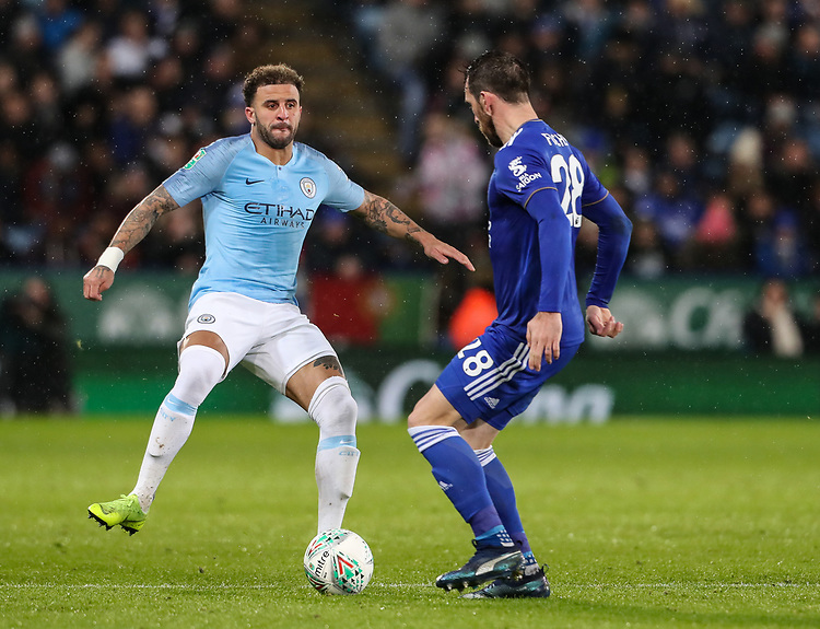 Manchester City's Kyle Walker competing with Leicester City's Christian Fuchs<br /> <br /> Photographer Andrew Kearns/CameraSport<br /> <br /> English League Cup - Carabao Cup Quarter Final - Leicester City v Manchester City - Tuesday 18th December 2018 - King Power Stadium - Leicester<br />  <br /> World Copyright © 2018 CameraSport. All rights reserved. 43 Linden Ave. Countesthorpe. Leicester. England. LE8 5PG - Tel: +44 (0) 116 277 4147 - admin@camerasport.com - www.camerasport.com