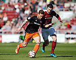Billy Sharp of Sheffield Utd in action with Zander Diamond of Northampton during the English League One match at Sixfields Stadium Stadium, Northampton. Picture date: April 8th 2017. Pic credit should read: Simon Bellis/Sportimage