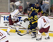 Michael Matheson (BC - 5), Josh Myers (Merrimack - 23), Justin Hussar (Merrimack - 18), Teddy Doherty (BC - 4) - The Boston College Eagles defeated the visiting Merrimack College Warriors 4-3 on Friday, November 16, 2012, at Kelley Rink in Conte Forum in Chestnut Hill, Massachusetts.