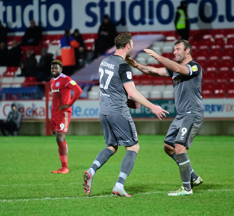 Lincoln City's Jamie McCombe, left, celebrates scoring his side's second goal with team-mate Matt Rhead<br /> <br /> Photographer Andrew Vaughan/CameraSport<br /> <br /> The EFL Checkatrade Trophy Second Round - Accrington Stanley v Lincoln City - Crown Ground - Accrington<br />  <br /> World Copyright &copy; 2018 CameraSport. All rights reserved. 43 Linden Ave. Countesthorpe. Leicester. England. LE8 5PG - Tel: +44 (0) 116 277 4147 - admin@camerasport.com - www.camerasport.com