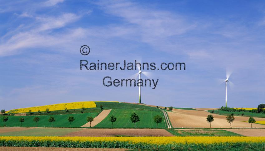 Austria, Lower Austria, Wachau, windmill, yellow Canola fields, trees