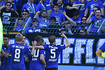 20.04.2019, Carl Benz Stadion, Mannheim, GER, RL Sued, SV Waldhof Mannheim vs. VfR Wormatia Worms, <br /> <br /> DFL REGULATIONS PROHIBIT ANY USE OF PHOTOGRAPHS AS IMAGE SEQUENCES AND/OR QUASI-VIDEO.<br /> <br /> im Bild: Timo Kern (SV Waldhof Mannheim #10) jubelt mit Mete Celik (SV Waldhof Mannheim #3), Marcel Seegert (SV Waldhof Mannheim #5) und Gianluca Korte (SV Waldhof Mannheim #17) ueber sein Tor zum 1:0<br /> <br /> Foto © nordphoto / Fabisch