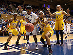 22 March 2014: Duke's Ka'lia Johnson (center) and Winthrop's Taylor Calvert (20), DeQuesha McClanahan (22), and Schaquilla Nunn (4) watch the ball bounce out of bounds. The Duke University Blue Devils played the Winthrop University Eagles in an NCAA Division I Women's Basketball Tournament First Round game at Cameron Indoor Stadium in Durham, North Carolina.