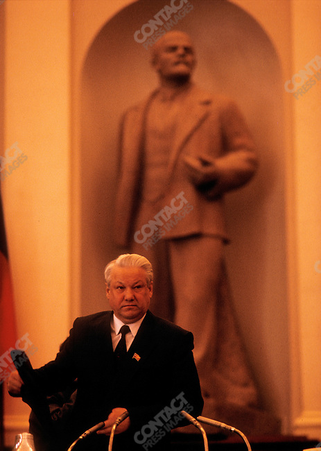Boris Yeltsin attends a meeting of the Congress of People's Deputies of the Russian Soviet Federative Socialist Republic (RSFSR). Moscow, USSR, April 1991.