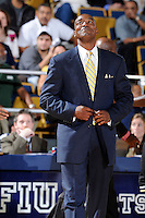 18 November 2010:  FIU Basketball Head Coach Isiah Thomas reacts to a call in the second half as the Florida State University Seminoles defeated the FIU Golden Panthers, 89-66, at the U.S. Century Bank Arena in Miami, Florida.