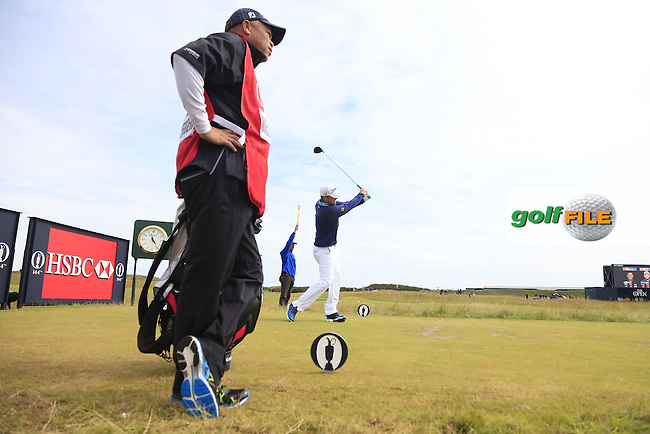 Bernd WIESBERGER (AUT) tees off the 15th tee during Monday's Final Round of the 144th Open Championship, St Andrews Old Course, St Andrews, Fife, Scotland. 20/07/2015.<br /> Picture Eoin Clarke, www.golffile.ie