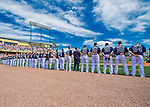 11 March 2016: Members of the Atlanta Braves line up for the playing of the National Anthem prior to a Spring Training pre-season game against the Philadelphia Phillies at Champion Stadium in the ESPN Wide World of Sports Complex in Kissimmee, Florida. The Phillies defeated the Braves 9-2 in Grapefruit League play. Mandatory Credit: Ed Wolfstein Photo *** RAW (NEF) Image File Available ***