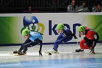 SCHAATSEN: DORDRECHT: Sportboulevard, Korean Air ISU World Cup Finale, 11-02-2012, J.R. Celski USA (82), Jinkyu Noh KOR (54), Patrick Duffy CAN (11), ©foto: Martin de Jong