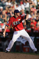 Tanner Scheppers of the Texas Rangers organization participates in the Futures Game at Angel Stadium in Anaheim,California on July 11, 2010. Photo by Larry Goren/Four Seam Images