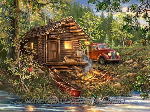Dona Gelsinger, LANDSCAPES, LANDSCHAFTEN, PAISAJES, paintings+++++,USGE1936,#l#, EVERYDAY,lodge,oldtimer,vintage car,boat,lodge