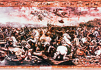 """Vatican:  Raphael Rooms-- """"The Battle of Milvian Bridge"""",  a fresco by Raphael in one of the four rooms (Constantine)  of the Palace of the Vatican used as reception rooms.  High Renaissance period in Rome."""