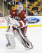 Steve Michalek (Harvard - 34) - The Boston University Terriers defeated the Harvard University Crimson 3-1 in the opening round of the 2012 Beanpot on Monday, February 6, 2012, at TD Garden in Boston, Massachusetts.