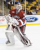 Steve Michalek (Harvard - 34) - The Boston University Terriers defeated the Harvard University Crimson 3-1 in the opening round of the 2012 Beanpot on Monday, February 6, 2012, at TD Garden in Boston, Massachusetts.