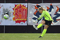 Piscataway, NJ, May 7, 2016. Goalkeeper Caroline Stanley (18) of Sky Blue FC takes a kick in their game against the Western New York Flash. The Western New York Flash defeated Sky Blue FC, 2-1, in a National Women's Soccer League (NWSL) match at Yurcak Field.