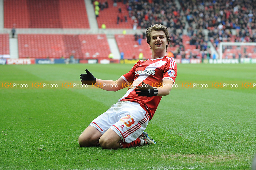 Patrick Bamford of Middlesbrough celebrates scoring Middlesbrough's third goal - Middlesbrough vs Ipswich Town - Sky Bet Championship Football at the Riverside Stadium, Middlesbrough - 14/03/15 - MANDATORY CREDIT: Steven White/TGSPHOTO - Self billing applies where appropriate - contact@tgsphoto.co.uk - NO UNPAID USE