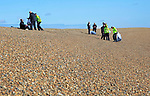 Border Force staff conduct training exercise on beach at Shingle Street, Suffolk, England, UK