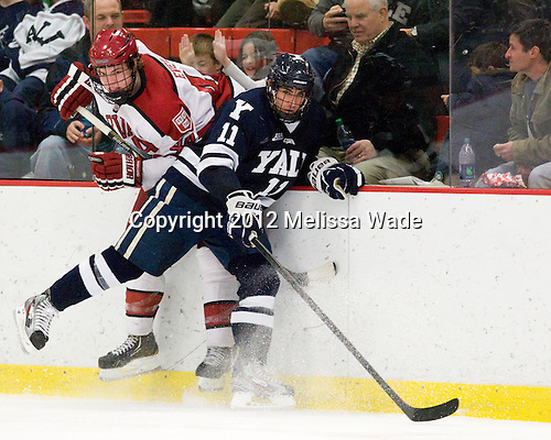 Max Everson (Harvard - 44), Trent Ruffolo (Yale - 11) - The Yale University Bulldogs defeated the Harvard University Crimson 5-1 on Saturday, November 3, 2012, at Bright Hockey Center in Boston, Massachusetts.