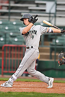 Dayton Dragons designated hitter Stuart Fairchild (4)  swings at pitch against the Burlington Bees at Community Field on May 2, 2018 in Burlington, Iowa.  (Dennis Hubbard/Four Seam Images)