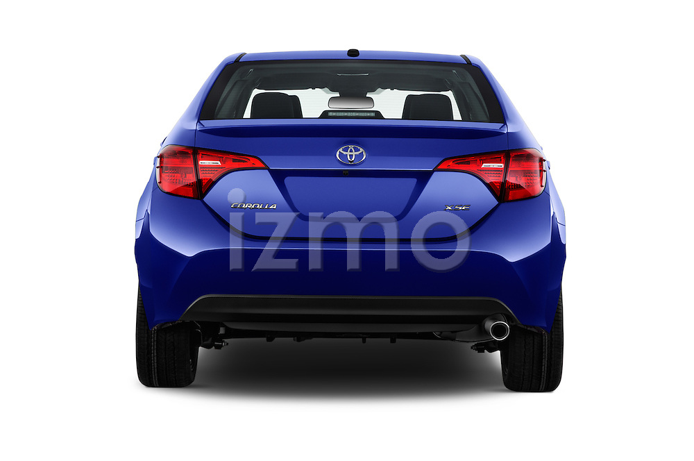 Straight rear view of 2017 Toyota Corolla XSE-AT 4 Door Sedan Rear View  stock images