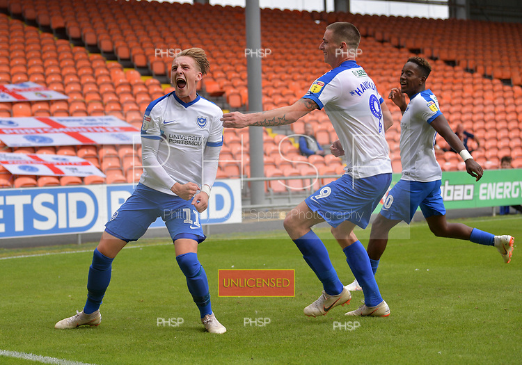 11/08/2018 Sky Bet League 1 Blackpool v Portsmouth<br /> <br /> Ronan Curtis  celebrates after scoring Portsmouth's second goal