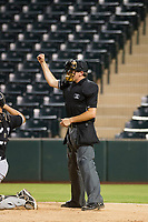 Home plate umpire Jeff Hamann makes a strike call during the AZL White Sox and AZL Angels game on August 14, 2017 at Diablo Stadium in Tempe, Arizona. AZL Angels defeated the AZL White Sox 3-2. (Zachary Lucy/Four Seam Images)