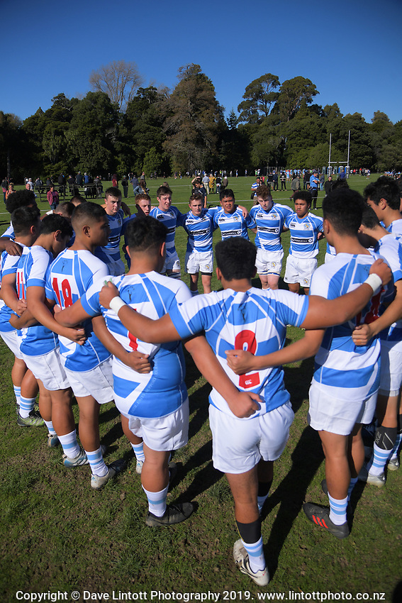 Action from the Transit Coachlines 1st XV Festival rugby union match between St Patrick's College Silverstream College and Hastings Boys' High School at Rathkeale College in Masterton, New Zealand on Saturday, 4 May 2019. Photo: Dave Lintott / lintottphoto.co.nz