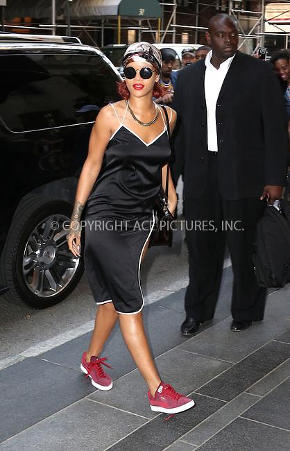 WWW.ACEPIXS.COM<br /> <br /> May 4 2015, New York City<br /> <br /> Singer Rihanna arrives at a Midtown Manhattan hotel on May 4 2015 in New York City<br /> <br /> By Line: Zelig Shaul/ACE Pictures<br /> <br /> <br /> ACE Pictures, Inc.<br /> tel: 646 769 0430<br /> Email: info@acepixs.com<br /> www.acepixs.com