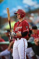 Altoona Curve right fielder Jordan George (24) on deck during a game against the Richmond Flying Squirrels on May 15, 2018 at Peoples Natural Gas Field in Altoona, Pennsylvania.  Altoona defeated Richmond 5-1.  (Mike Janes/Four Seam Images)
