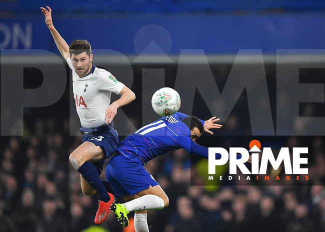 Ben Davies of Tottenham Hotspur battles with Pedro of Chelsea during the Carabao Cup Semi-Final 2nd leg match between Chelsea and Tottenham Hotspur at Stamford Bridge, London, England on 24 January 2019. Photo by Vince  Mignott / PRiME Media Images.