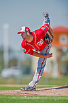 25 February 2016: Washington Nationals top pitching prospect Lucas Giolito works out during the first full squad Spring Training workout at Space Coast Stadium in Viera, Florida. Mandatory Credit: Ed Wolfstein Photo *** RAW (NEF) Image File Available ***