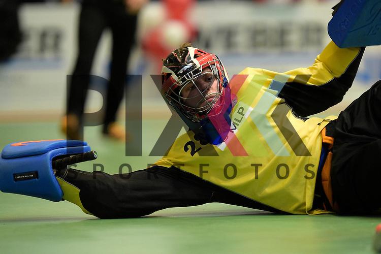 GER - Luebeck, Germany, February 06: During the 1. Bundesliga Herren indoor hockey semi final match at the Final 4 between Berliner HC (red) and Rot-Weiss Koeln (white) on February 6, 2016 at Hansehalle Luebeck in Luebeck, Germany. Final score 2-3 (HT 6-10).  Moritz Knobloch (TW) #28 of Berliner HC<br /> <br /> Foto &copy; PIX-Sportfotos *** Foto ist honorarpflichtig! *** Auf Anfrage in hoeherer Qualitaet/Aufloesung. Belegexemplar erbeten. Veroeffentlichung ausschliesslich fuer journalistisch-publizistische Zwecke. For editorial use only.